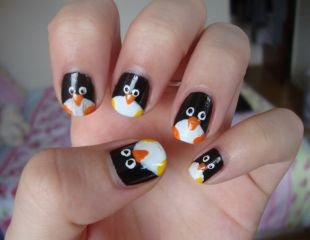 Рисунки на коротких ногтях, маникюр с пингвинами
