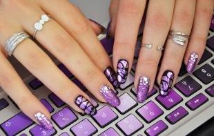 Рисунки блестками на ногтях, блестящий фиолетовый дизайн ногтей с помощью фольги