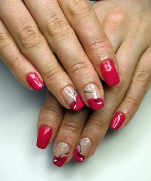 Красные ногти с рисунком, французский маникюр с вишнями