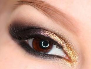 Макияж для рыжих с карими глазами, темно-золотистый макияж глаз