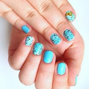 Летний маникюр на коротких ногтях, летний маникюр голубого цвета