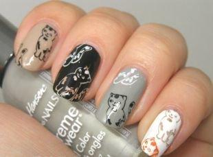 Черные рисунки на ногтях, маникюр по фэн-шую с рисунками котят
