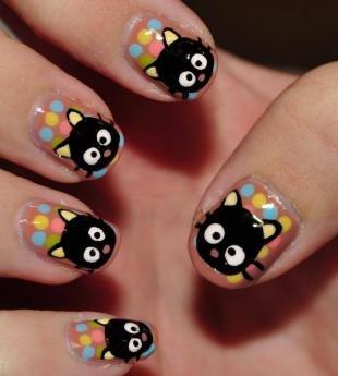 Рисунки с кошками на ногтях, маникюр с черными кошками