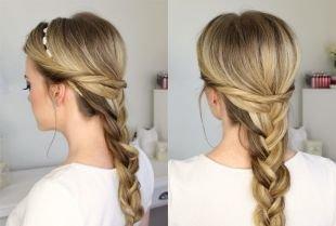 Прически с ободком на резинке на длинные волосы, классическая трехпрядная коса со жгутом