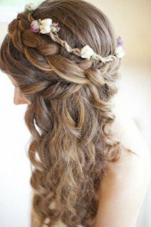 Прически с ободком на резинке на длинные волосы, романтичная свадебная прическа с косой вокруг головы