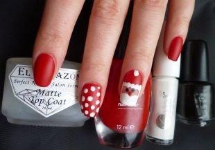 Простейшие рисунки на ногтях, красный маникюр с санта клаусом и белым горошком