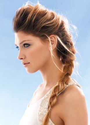 """Коньячный цвет волос на длинные волосы, прическа с плетением в стиле """"бохо"""""""