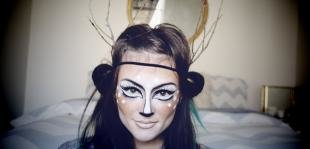 Легкий макияж на хэллоуин, креативный макияж на хэллоуин