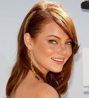 Стрижки и прически на средние волосы, медно-рыжий цвет волос