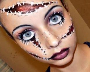 Макияж для голубых глаз на хэллоуин, макияж на хэллоуин со швами