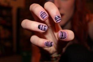 Двухцветный маникюр, розовый ажурный маникюр на короткие ногти
