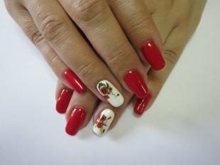Рисунки с маками на ногтях, красно-белый маникюр с маками