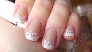 Рисунки на ногтях иголкой, свадебный френч с ажурными узорами