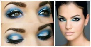 Макияж для зимней фотосессии, яркий макияж глаз в синих тонах