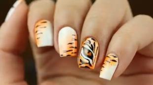 Рисунки с животными на ногтях, модный маникюр с тигровым принтом