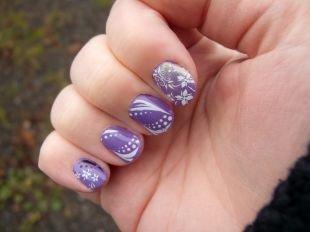 Нежные рисунки на ногтях, красивый маникюр с белым рисунком