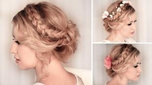 Цвет волос теплый блонд, красивые украшения для причесок