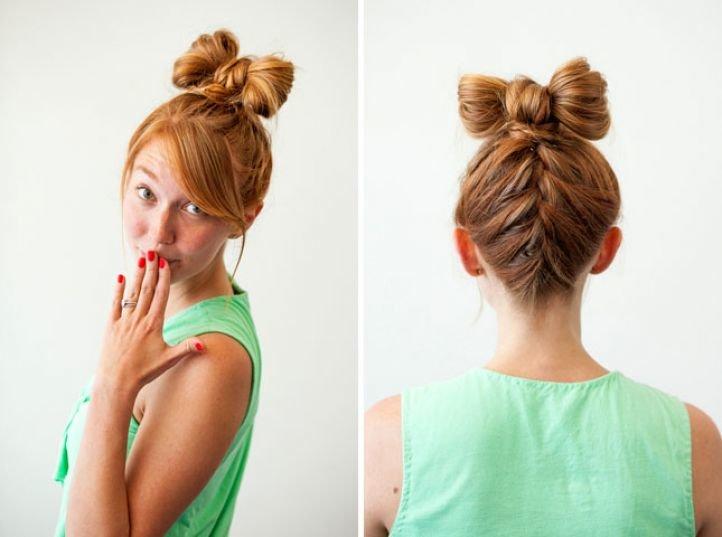 Бант из волос с косой на 1 сентября